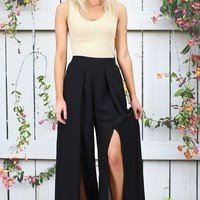 High Waisted Solid Front Slit Pants {Black}