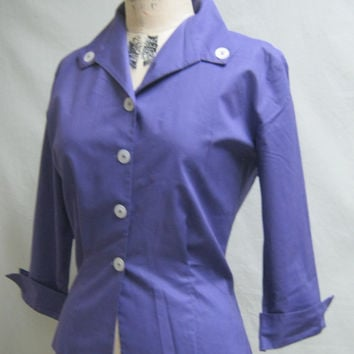Vintage 50s ROCKABILLY Cotton BLOUSE with Gathered BACK Detail Button Trim   Bust 40""