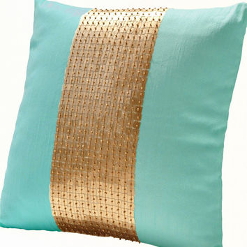 Teal Pillows -Teal gold color block pillows in silk -Sequin pillows -18X18 -Couch pillows- Sofa pillows- Toss pillow -Decorative pillow