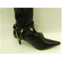 MEDIUM SCREW SPIKE BOOTSTRAPS - Black Rose