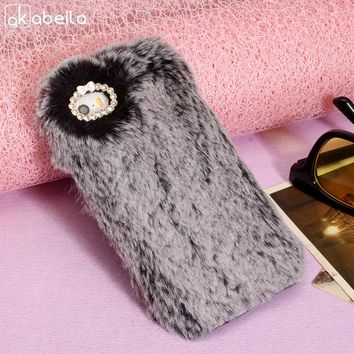 AKABEILA Silicone Phone Case Cover For iPhone 5S 5 SE 5G 55S iPhone5 iPhone5s 4.0 inch Case Rabbit Fur Diamond TPU Back Cover