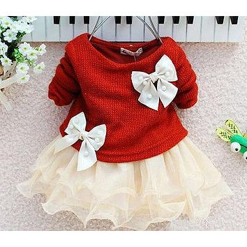 Toddler Infant Babys Girls Dress Knit Sweater Tops Bow Tulle Dresses Outfits XMAS Costume 2017 New Winter