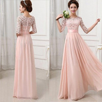 Women Long Lace Chiffon Solid  Evening Formal Party Dress Prom Gown