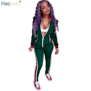 Two Piece Set Autumn Winter Zipper Jacket Top And Side Striped Pants Green Fitness Outfit Casual Suits Women Tracksuit