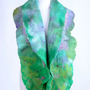 Floral, green & pink, meadow pattern nuno felt scarf - fiber art, OOAK, felted wool, warm shawl with flower theme [S118]