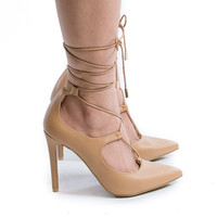 Riseup31V Natural Pu by Anne Michelle, Natural PU Pointy Toe Corset Lace Up Leg Wrap Stiletto Heel Dress Pumps