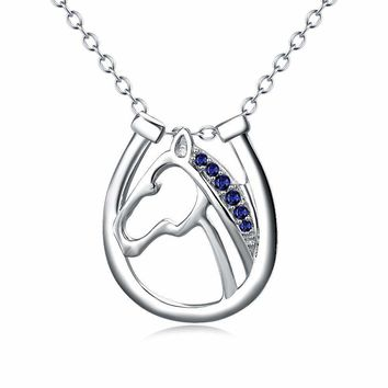 Sterling Silver Horse Head Blue Crystals Pendant Necklace