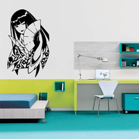 Wall Decor Art Vinyl Sticker Room Decal Anime Girl Woman With Hand Fan Gaisha 577