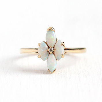 Opal & Diamond Ring - Vintage 10k Rosy Yellow Gold Marquise Cut Gemstone Cluster - 1960s Size 8 1/2 Retro Statement Gem Fine Jewelry