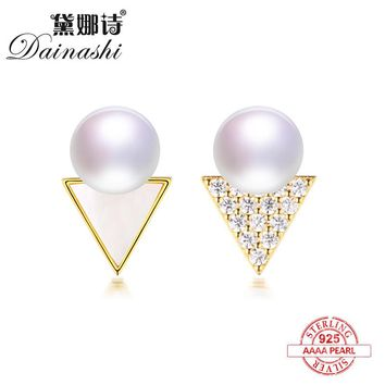 Dainashi triangle AB style simple vogue Luxury gold color 925 sterling silver pearl stud earrings fine jewelry for women