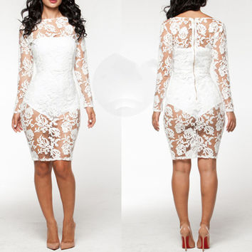 White Floral Lace Cutout Long Sleeve Mini Bodycon Dress