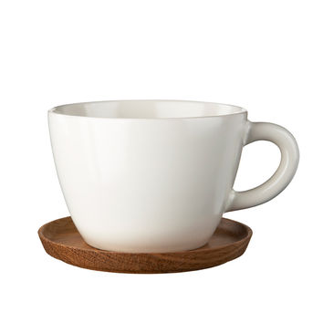 Hoganas Tea cup with wooden saucer by Front Design