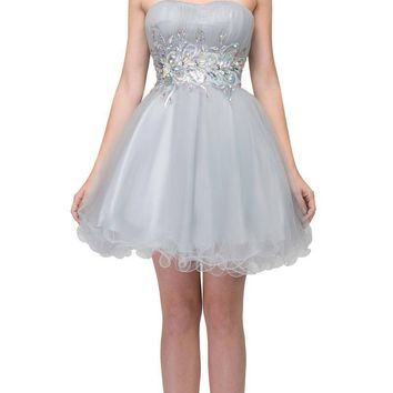 Poofy Short Homecoming Dress Silver Strapless A Line Sequins