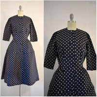 Vintage 1950s Suzy Perette Navy Blue Silk Polka Dot Dress