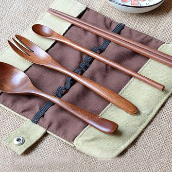 Wooden Travel Portable Cutlery Set Chopsticks Small Spoon Fork S