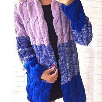 Gradient Print Twist Pattern Knitted Long Cardigan