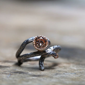 Silver Gold Branch Peach CZ Engagement Ring - Sparkle Bark