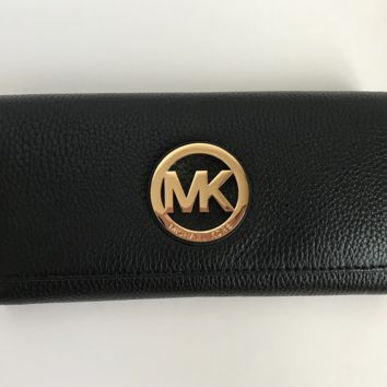 NWT Michael Kors BLACK Fulton Flap Continental Leather Wallet - New$158