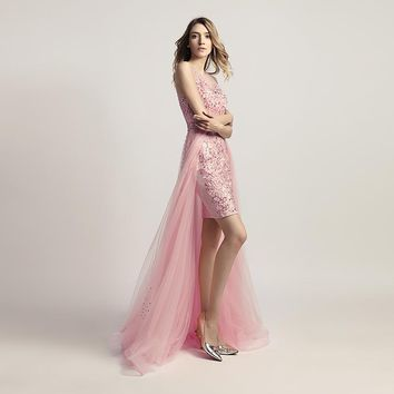 New Arrivals Long Elegant Luxury Pink Evening Dresses Asymmetrical Beading Prom Gowns Robe De Soiree Actual Images LSX441