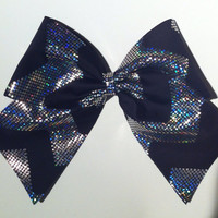 3in. Black Hologram Chevron Cheer Bow