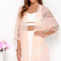 Sheer We Are Peach Lace Kimono Top