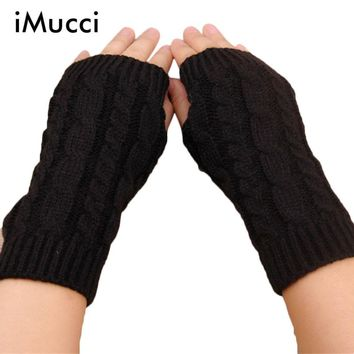 iMucci Pretty Stylish Winter Hand Arm Crochet Knitting Wool Mitten Fingerless Glove Warm Glove Women  Long Fingerless Gloves