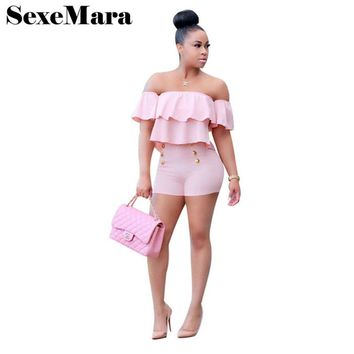 Sexy off shoulder ruffles two piece set top and shorts fashion casual plus size women pant suit 2017 summer outfit S-3XL D40AC03