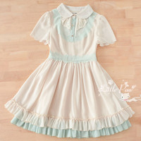 [Free Shipping to USA] Ruffle-Trim Chiffon Dress - JA1908