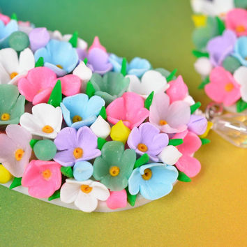 Colorful handmade designer flower necklace  Polymer clay jewelry Gift ideas