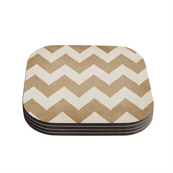 "Catherine McDonald ""Biscotti and Cream"" Chevron Coasters (Set of 4)"