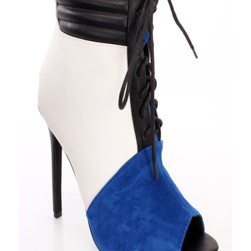 Blue Lace Up Peep Toe Single Sole Booties Faux