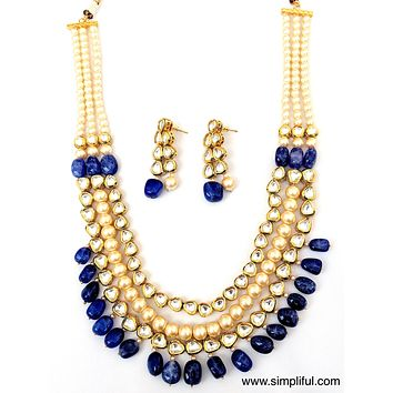 Multi layered Kundan and pearl Necklace and Earring set