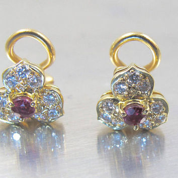 14K Ruby Diamond Earrings, Three Leaf Clover Flower Studs, Yellow Gold French Omega Back, Bridal Wedding Jewelry, July Birthstone