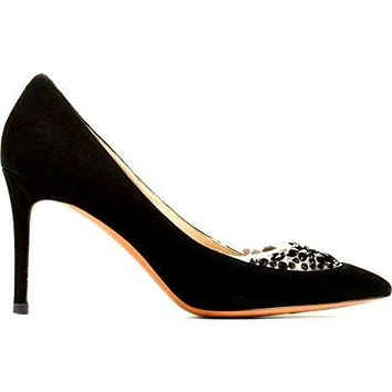 Tory Burch Women's 85MM Delphine Embellished Pointy Toe Pump Suede Shoes