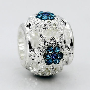 New Silver Plated Bead Charm Hollow White Flower With Blue Crystal Beads Fit Women Pandora Bracelets & Bangles DIY Jewelry
