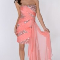 Pink Strapless Sequin Dress with Silk Wrap Around #dress #sequin  #embellishment #prom #chic #sparkles #partydress  #pink
