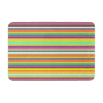 "Nandita Singh ""Pattern Play Stripes"" Rainbow Memory Foam Bath Mat"