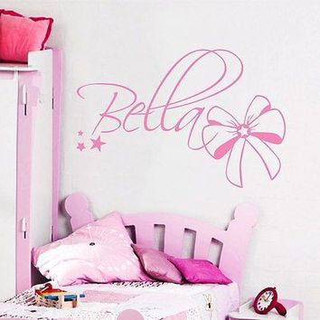 Wall Decals Personalized Names Bow Star Decal Girl Nursery Bedroom DA3737
