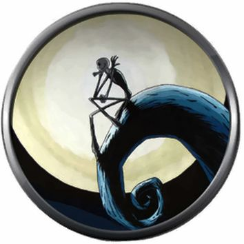 Sitting Jack Skellington On Spiral Hill Halloween Town Nightmare Before Christmas 18MM - 20MM Charm for Snap Jewelry New Item