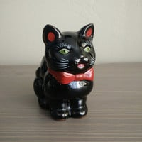 1950s Shafford redware black cat sugar dish, Japanese sugar bowl, cat sugar, coffee and tea accessories
