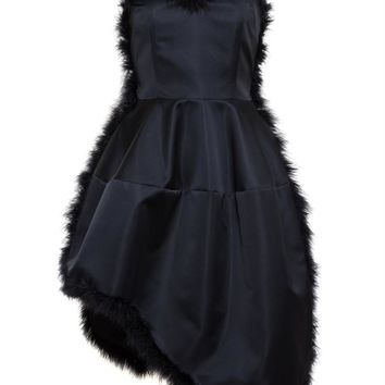 Satin Bustier Dress with Feather Trim - SIMONE ROCHA