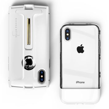 CASE FORCE iPhone X Case Clear Best Cute for Girls Women Men,Kickstand Heavy Duty Military Grade Drop Protection,Wireless Charging Compatible,2 Tempered Glass,iPhone 1st Gen Inspired Case (White)