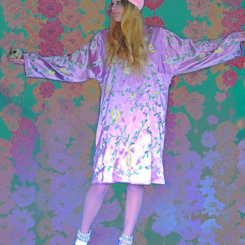 Tribal silk caftan / oversized hand loomed and dyed authentic Uzbek embroidered satin / soft pink lilac & yellow
