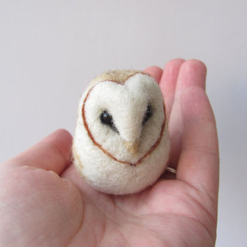 Needle felted barn owl by HandmadeByNovember on Etsy