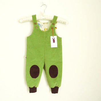Baby overall Baby boy dungarees with knee patches Green trousers Baby boy clothes Toddler boy clothes Baby boy pants