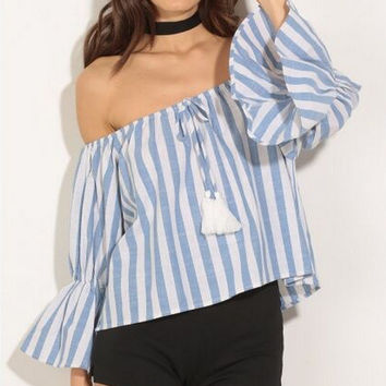 Blue Stripe Off the Shoulder Flounced Sleeve Blouse