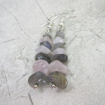Stacked Stone Earrings, Rose Quartz Earrings, Labradorite Earrings, Pink and Gray Earrings,