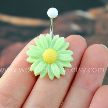 Green Hydrangea belly ring,cute flower bellyring,Flower Belly Button Ring , Flower Belly Ring ,Dangle Belly Ring ,Belly Button Piercing