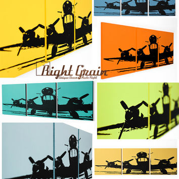 Airplane Artwork on 3 Panels - Personalized Wall Art - Great Gift Idea