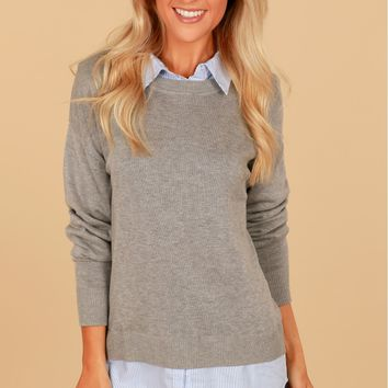 Layered Sweater Grey/Blue